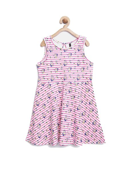 b1e4a66360 Buy United Colors of Benetton Kids Pink Striped Dress for Girls Clothing  Online @ Tata CLiQ