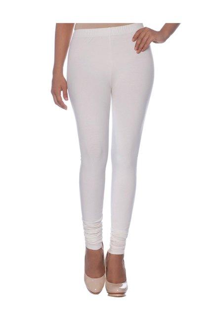 208319b7d54800 Buy Naari White Cotton Churidar Leggings for Women Online @ Tata ...