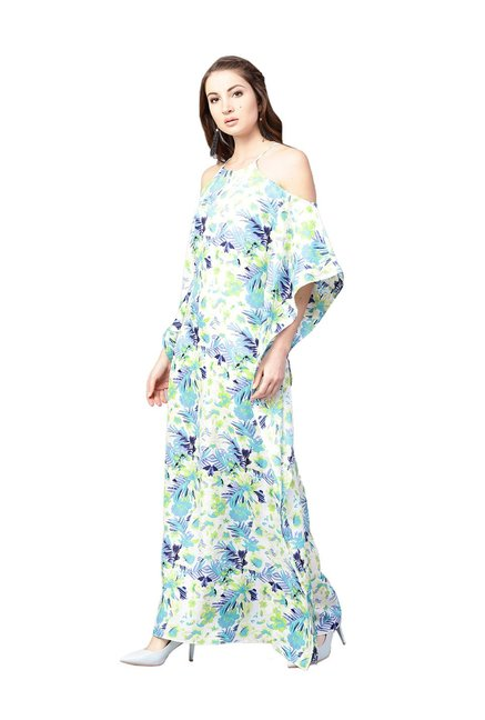 5ab7f0aa699 Buy Athena Off White   Green Floral Print Maxi Dress for Women ...