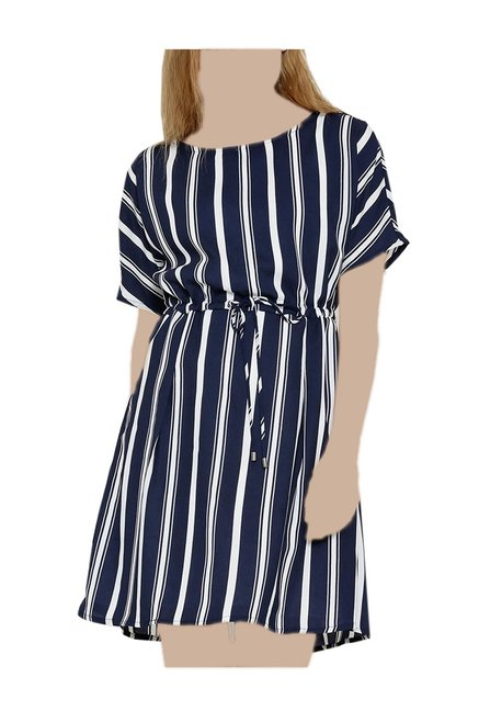 0d863ce266 Buy United Colors of Benetton Navy Striped Above Knee Dress for Women Online  @ Tata CLiQ