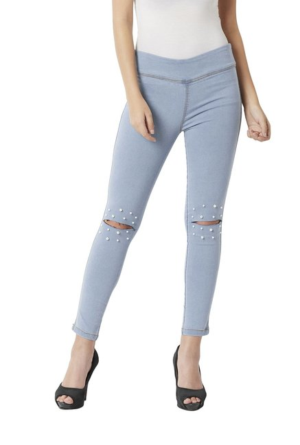 866f28c29fbbe Buy Miss Chase Sky Blue Cotton Super Skinny Fit Jeggings for ...
