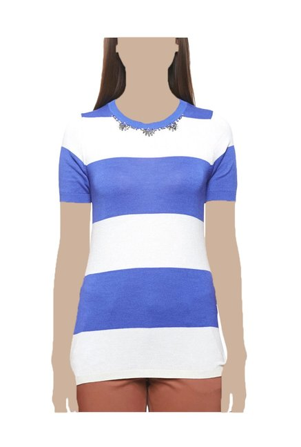 28f35876e4 Buy United Colors of Benetton Blue & White Striped Top for Women Online @ Tata  CLiQ