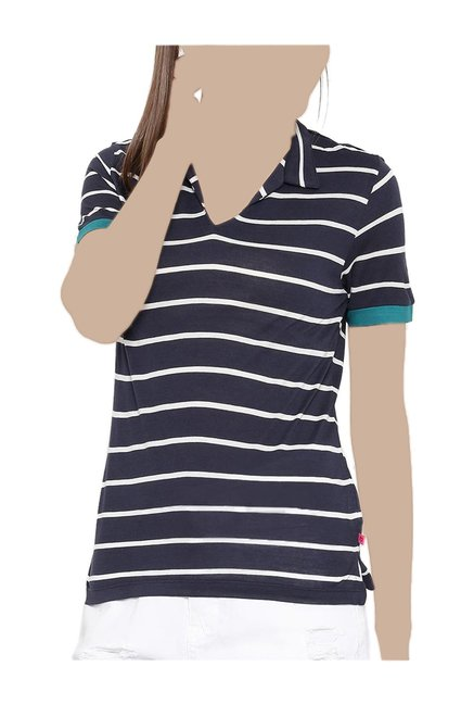 c5be50db5f Buy United Colors of Benetton Navy Striped Polo T-Shirt for Women Online @ Tata  CLiQ