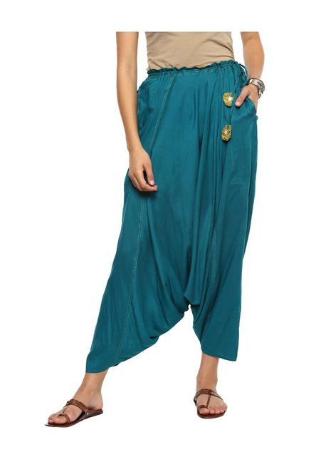 10f25f8289766 Buy Imara Teal Relaxed Fit Harem Pants for Women Online @ Tata ...