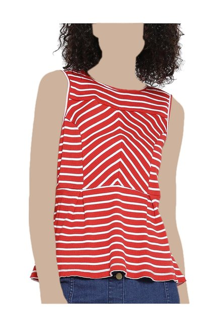 2ed00989c2 Buy United Colors of Benetton Red & White Striped Top for Women Online @ Tata  CLiQ