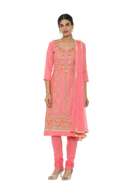 08d49a8bb9 Buy Soch Pink Cotton Embroidered Dress Material for Women Online @ Tata CLiQ
