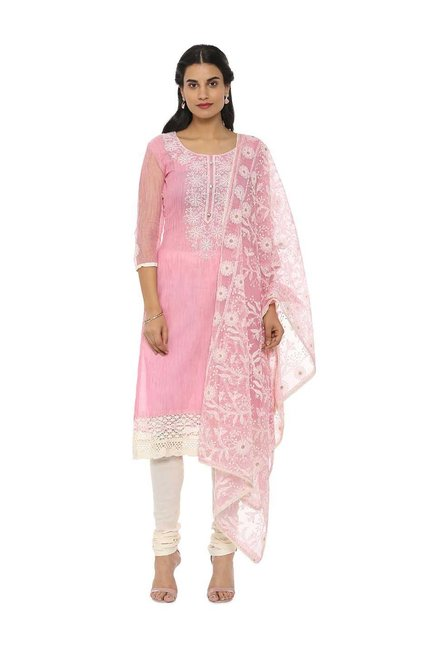 5dedf0b90d Buy Soch Pink & White Cotton Embroidered Dress Material for Women Online @ Tata  CLiQ