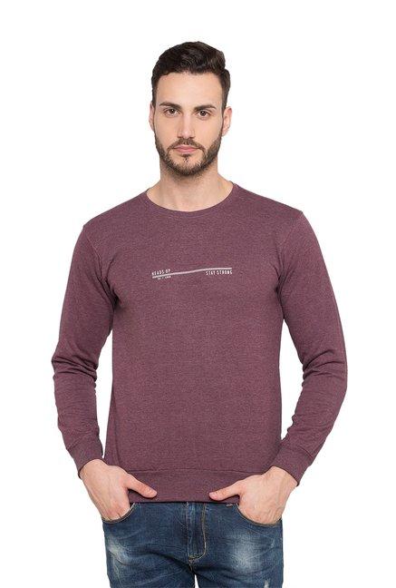 Status Quo Mauve Slim Fit Round Neck Sweatshirt