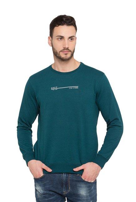 Status Quo Teal Blue Slim Fit Sweatshirt