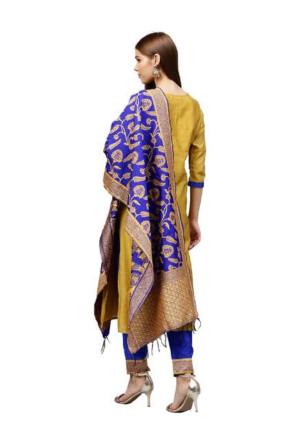 bff43a1e52 Jaipur Kurti Mustard & Royal Blue Chanderi Straight Kurta With Pant &  Dupatta