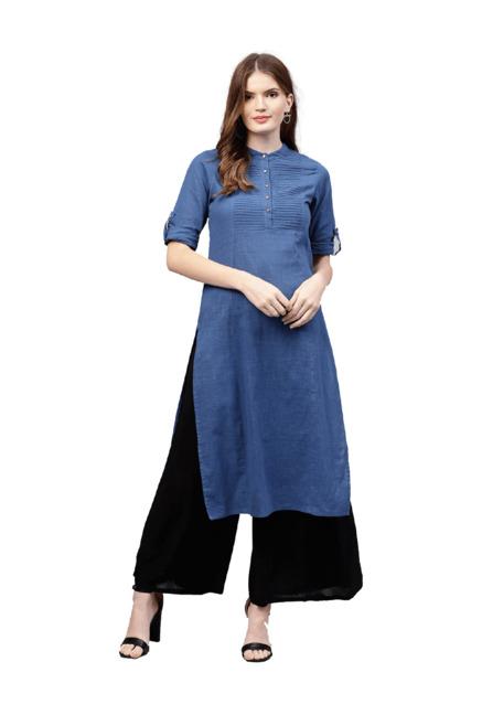 dad54cbfb02d Buy Jaipur Kurti Blue Textured Straight Kurta for Women Online @ Tata CLiQ