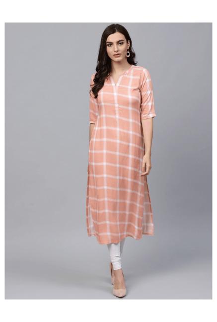 803f05b7d8 Buy Gerua Peach Checks Straight Kurta for Women Online @ Tata CLiQ