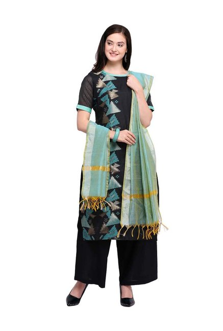 a6c6bc44e8 Buy Inddus Black Cotton Embroidered Dress Material for Women Online @ Tata  CLiQ