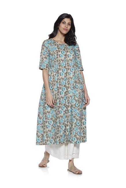 05c04fd388 Buy Utsa by Westside Grey Empire Line Pure Cotton Kurta for Women ...