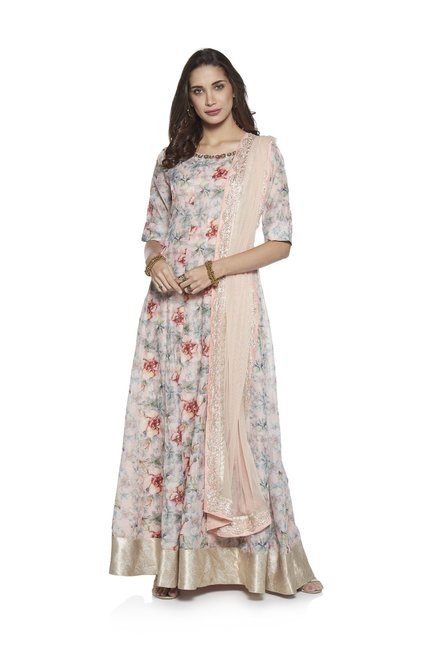 c25f19315 Buy Vark by Westside Pink Chanderi Maxi And Benarasi Dupatta Set for Women  Online @ Tata CLiQ