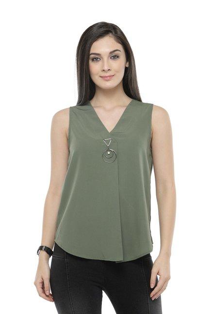 faa9d584d19070 Buy PlusS Olive Green Sleeveless Top for Women Online   Tata CLiQ
