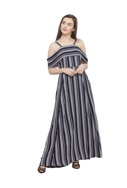 e46db2349b Buy PlusS Navy Striped Maxi Dress for Women Online   Tata CLiQ