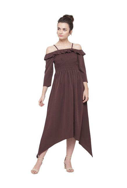 16e66c617435 Buy PlusS Coffee Brown Off-Shoulder Assymetric Dress for Women ...