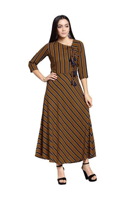 926f9cde01 Buy PlusS Mustard Striped Maxi Dress for Women Online   Tata CLiQ