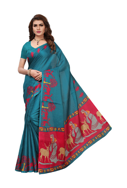 bb95406c171 Buy Ishin Blue Printed Saree With Blouse for Women Online   Tata CLiQ