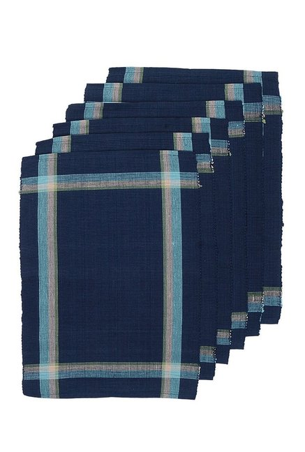 NEUDIS Navy   Green Corded Cotton Table Placemat   Set of 6