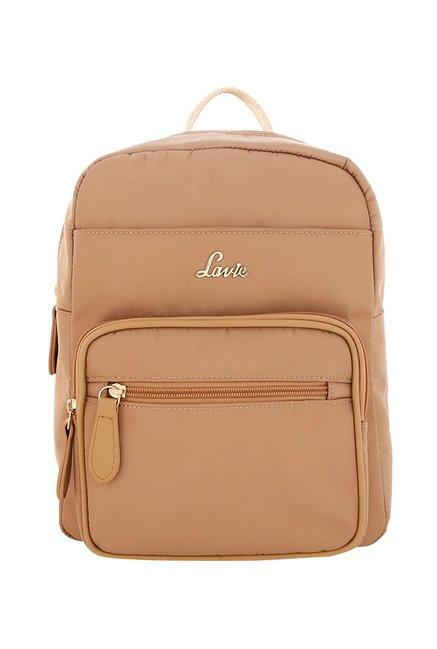 Lavie Beige Solid Backpack