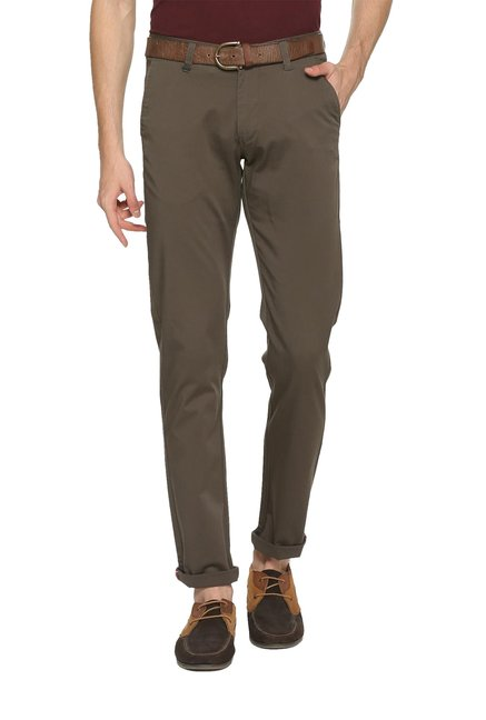 1f54fef4e Buy Van Heusen Brown Slim Fit Mid Rise Chinos for Men Online @ Tata CLiQ