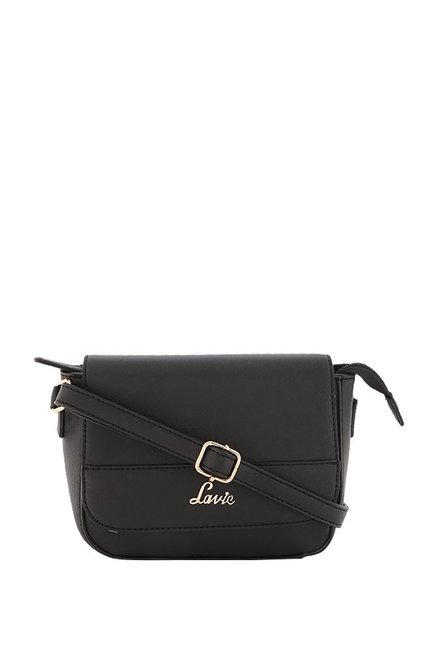 7e27b5879fb Buy Lavie Black Solid Flap Sling Bag For Women At Best Price   Tata CLiQ