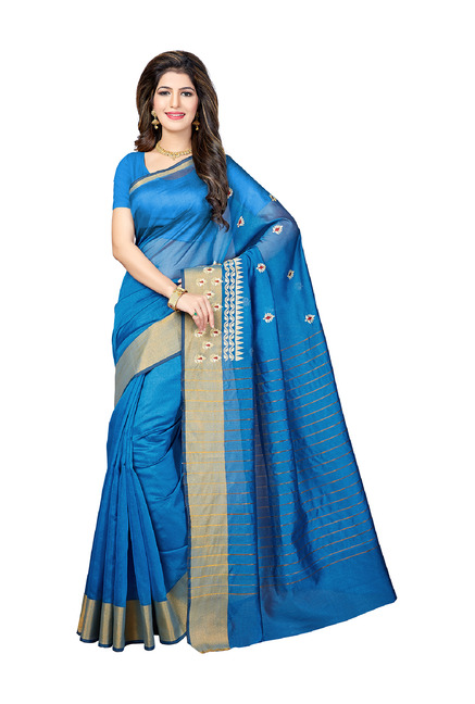 dc13a654685 Buy Ishin Blue Saree With Blouse for Women Online   Tata CLiQ