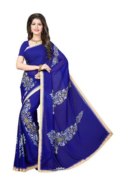 bd566d1aad7e1 Buy Ishin Royal Blue Printed Saree With Blouse for Women Online   Tata CLiQ