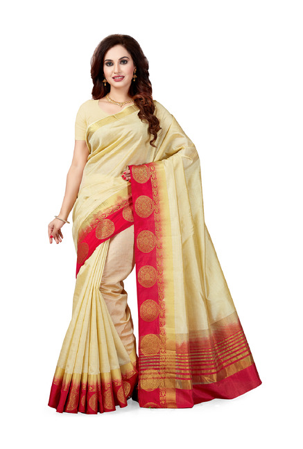 09169193f48fa Buy Ishin Cream Textured Saree With Blouse for Women Online ...