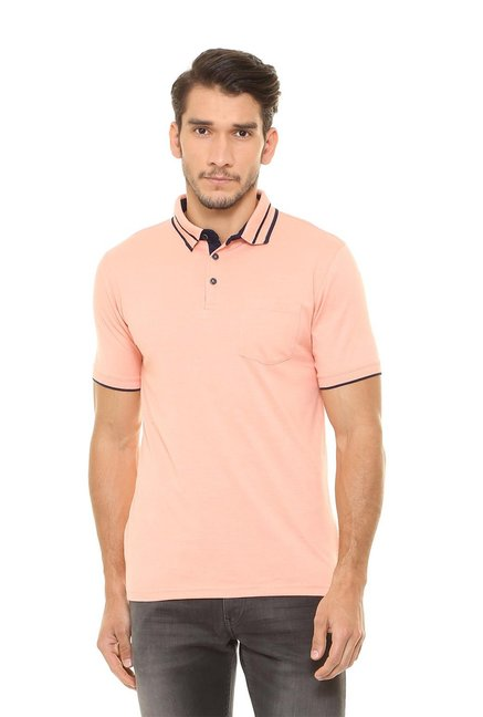 bb4ee53a85a Buy Peter England Peach Regular Fit Polo T-Shirt for Men Online ...
