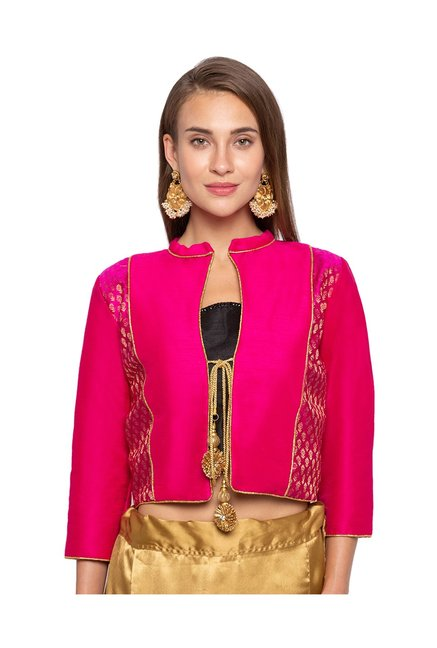 Just B Pink Textured Jacket Blouse
