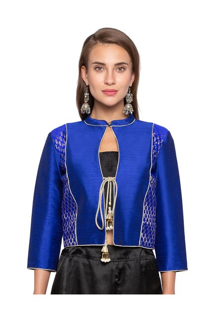 Just B Blue Textured Jacket Blouse