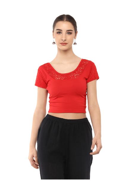 8e1aa6b73 Buy Salwar Studio Red Lace Blouse for Women Online   Tata CLiQ