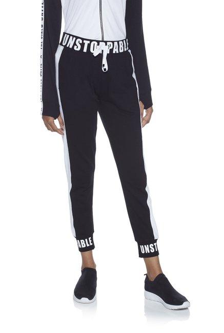 d3dc453d82c3f1 Buy Studiofit by Westside Black Cotton Joggers for Women Online ...