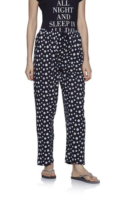 65fb68d72 Buy Zudio Black Pure Cotton Circular Print Pyjamas for Women Online   Tata  CLiQ