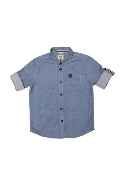 0d2e6bf1857 Buy Allen Solly Junior Blue Textured Shirt for Boys Clothing Online   Tata  CLiQ