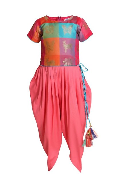 78cadf08b4b Buy LilPicks Kids Multicolor Embroidered Dhoti Jumpsuit for Girls ...