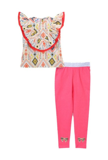 cd7e1e69536383 Buy LilPicks Kids Multicolor Printed Top With Leggings for Girls Clothing  Online @ Tata CLiQ