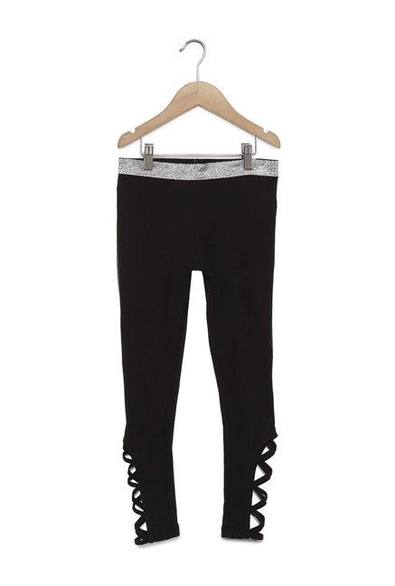 767cdf84b60ea Buy Y&F Kids by Westside Black Cross-Strap Leggings for Girls ...