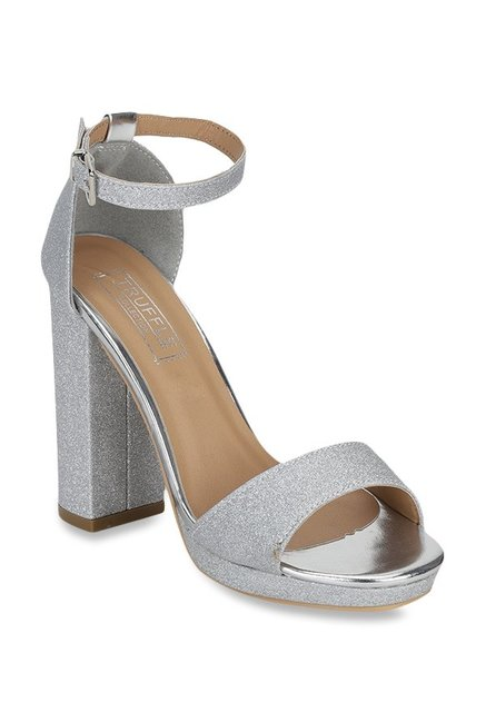 7ae48f0db3 Buy Truffle Collection Silver Ankle Strap Sandals for Women at Best Price @  Tata CLiQ