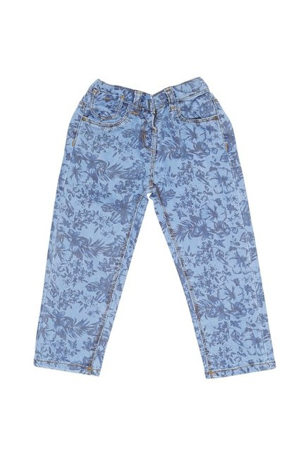 e3724d49c2 Buy Tales   Stories Kids Light Blue Printed Jeans for Infant Girls Clothing  Online   Tata CLiQ