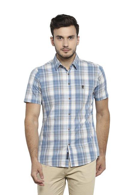 3270ac90631 Buy Red Tape Blue Cotton Half Sleeves Checks Shirt for Men Online   Tata  CLiQ