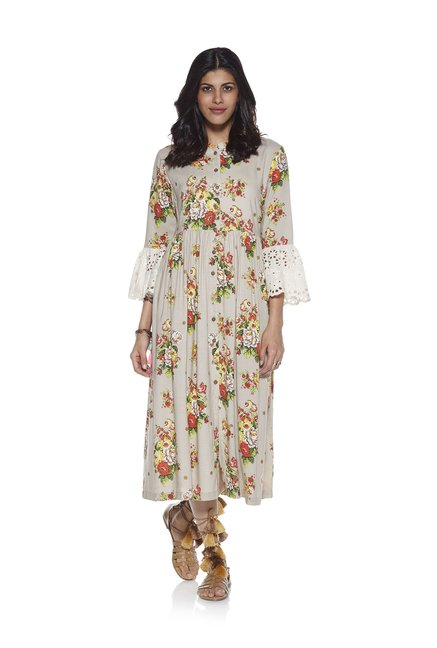 187874224015 Buy Bombay Paisley by Westside Beige Fit-And-Flare Floral Dress for Women  Online @ Tata CLiQ