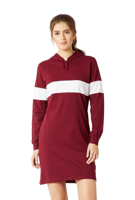 Miss Chase Maroon   White Cotton Shift Dress