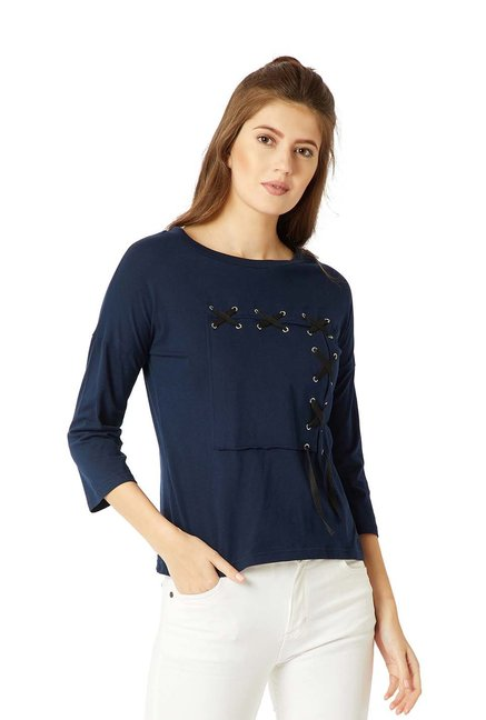 Miss Chase Navy Cotton 3/4th Sleeves Top