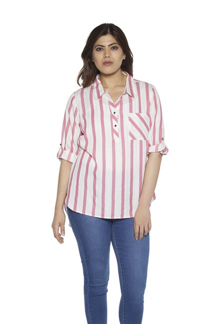 63254486c344ab Buy Gia curve by Westside Pink Petal Striped Blouse for Women Online @ Tata  CLiQ