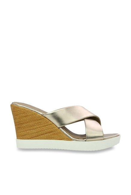 da1a6720f980 Buy Inc.5 Champagne Gold Cross Strap Wedges for Women at Best Price ...