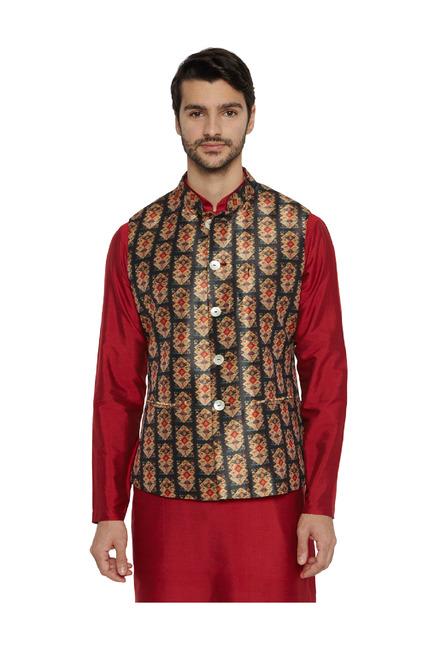 2a5e6ff7f2891 Buy Ethnix Black Printed Bundi Jacket for Men Online   Tata CLiQ